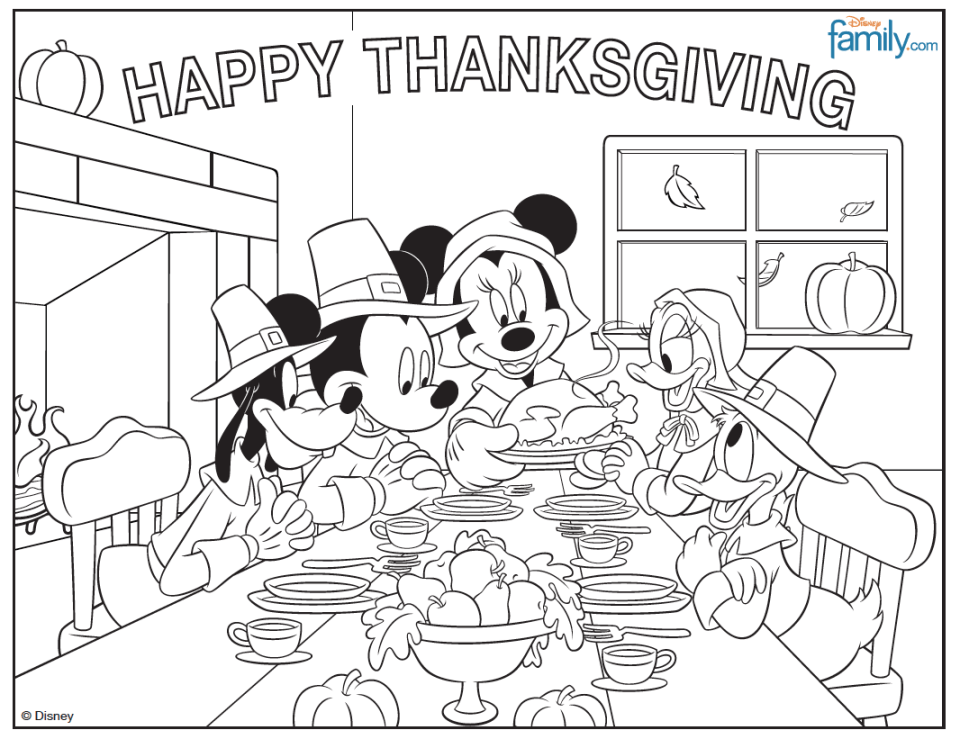 Free Disney Thanksgiving Coloring Pages | Thanksgiving coloring ...