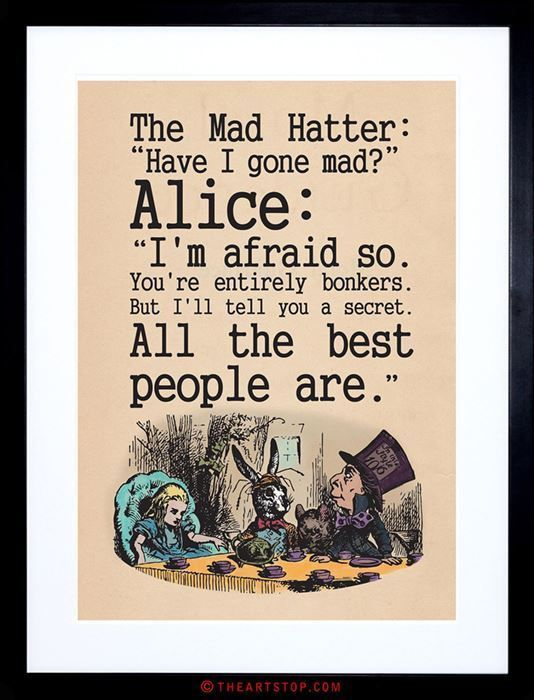 Quote Carroll Book Alice Wonderland Mad Hatter Tea Party Framed
