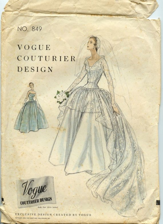 1950s Wedding Gown Pattern Vogue Couturier by GreyDogVintage, $195.00