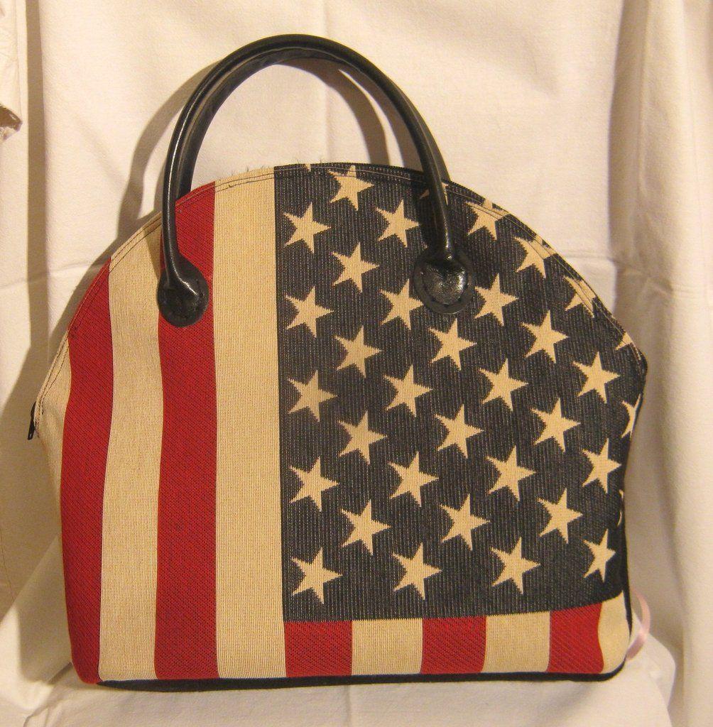 Borsa in stoffa bandiera americana fatta a mano | Borse ...