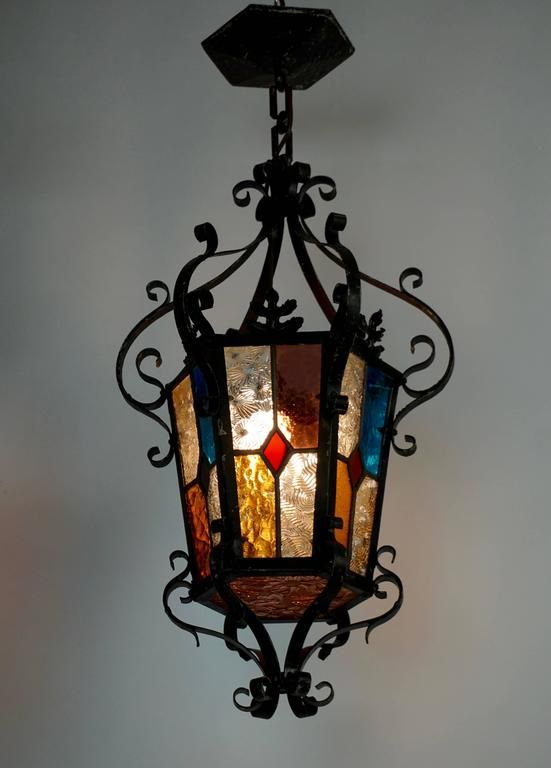 Lantern chandelier with stained glass pinterest lantern wrought iron lantern chandelier with stained glass 2 aloadofball Image collections