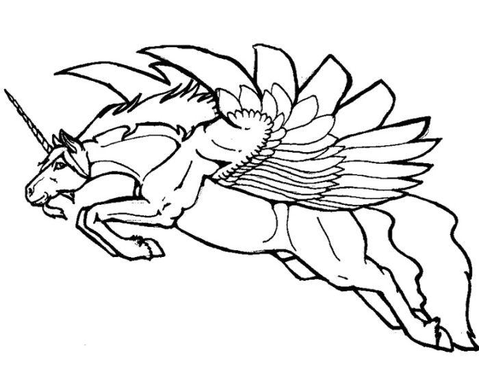 Flying Unicorn Coloring Pages Is Giant Pegasus With A Small Horn These Winged Are Very Special Kind Of Creature