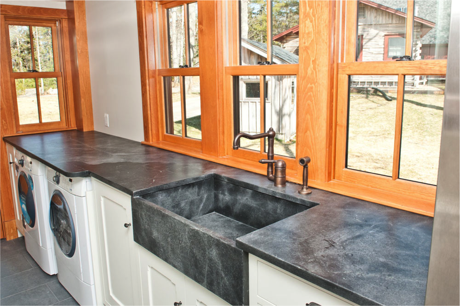 Perfect Maine Laundry Room With Soapstone Counters