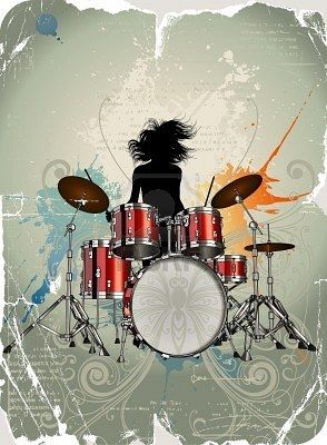 A Very Cool Vector Illustration Of A Drummer Drums Art Drummer Art Drums Girl