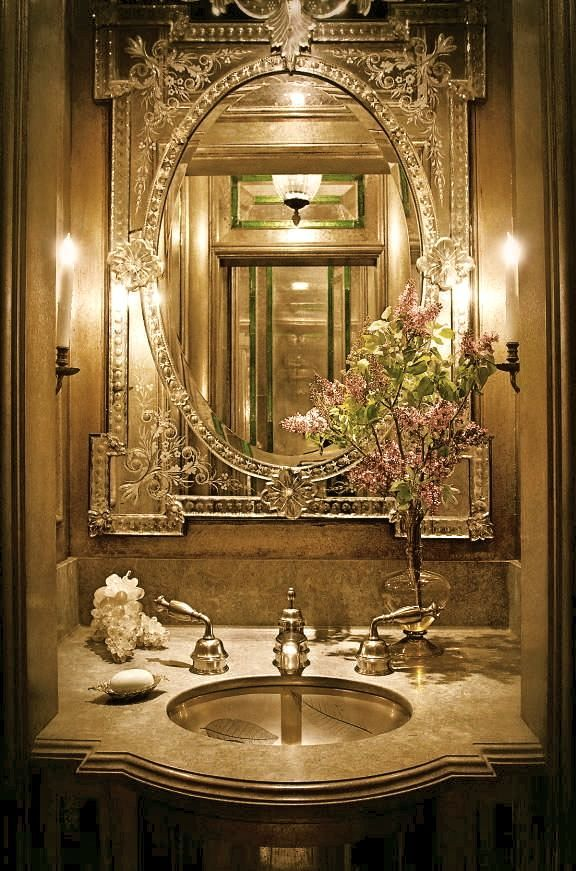 luxury powder rooms   Color Designing An Elegant