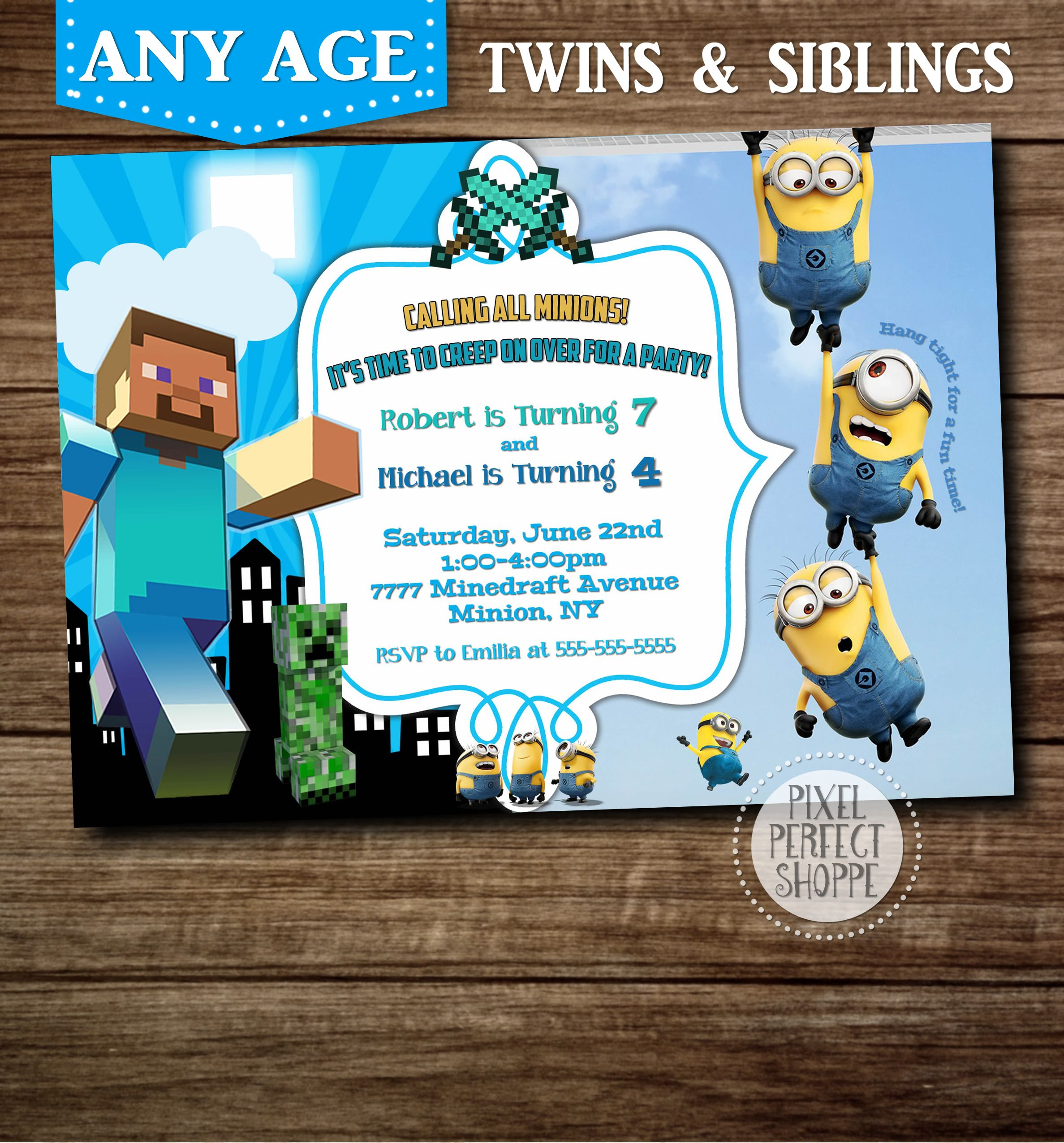 Minecraft And Minion Birthday Invitation For Boys Girls Siblings Twins Or Those Wanting Two Themes On One Card