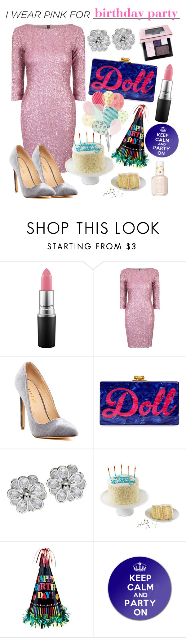 """birthday party"" by unchie18 ❤ liked on Polyvore featuring MAC Cosmetics, Alice & You, Liliana, Edie Parker, We Take the Cake, Essie and IWearPinkFor"