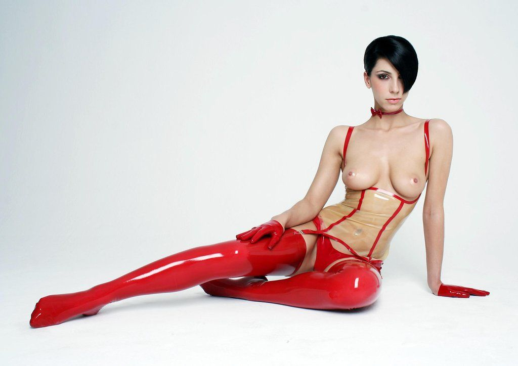Sexy red shiny stockings