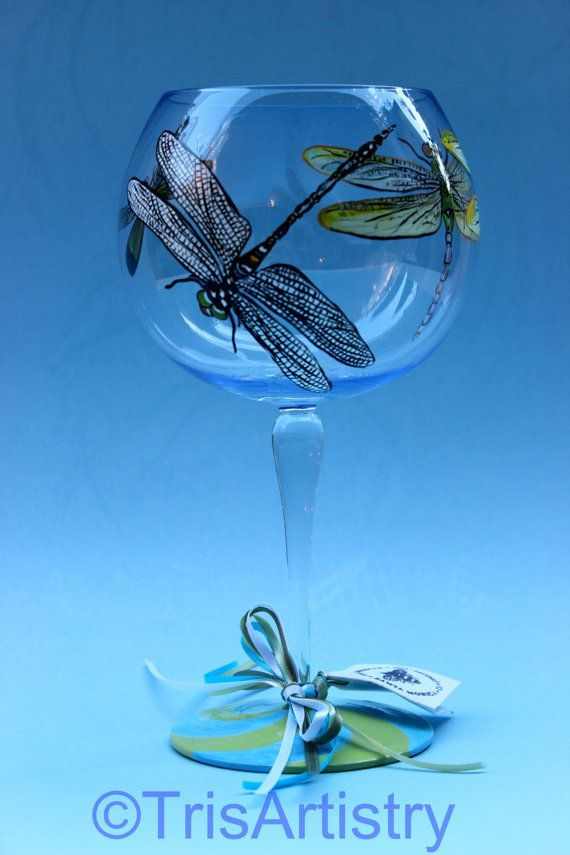 Hand Painted  Dragonly  Wine Glass  Green  Aqua  by TrisArtistry