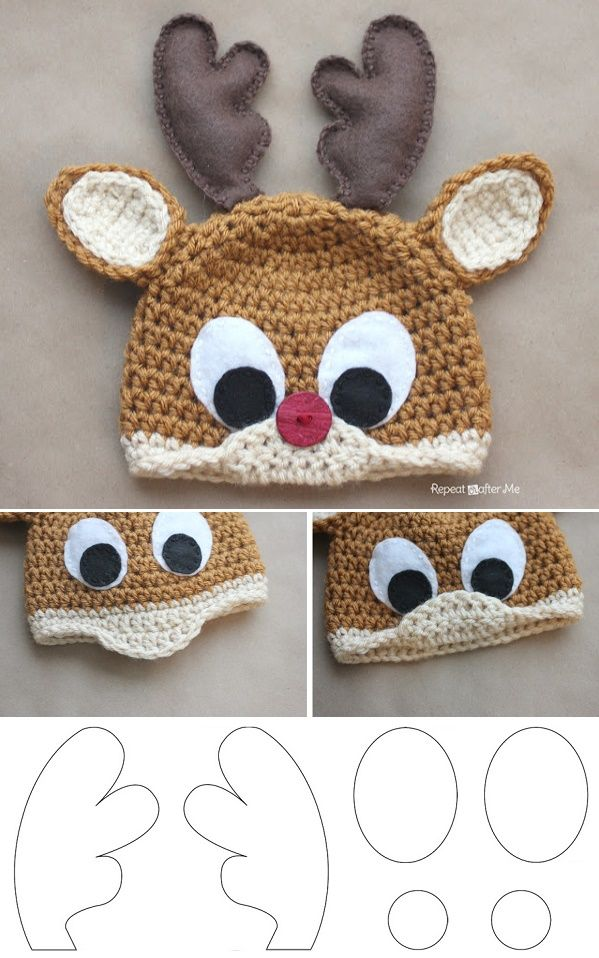 Rudolph The Reindeer Free Crochet Hat Pattern Diy Pinterest