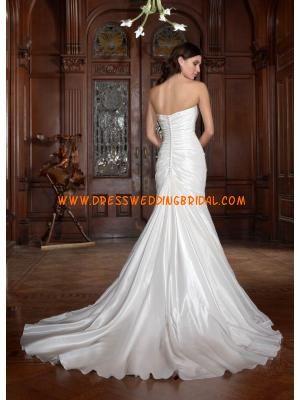 Strapless Mermaid Beaded White Taffeta Sweep Train Wedding Dresses 2013