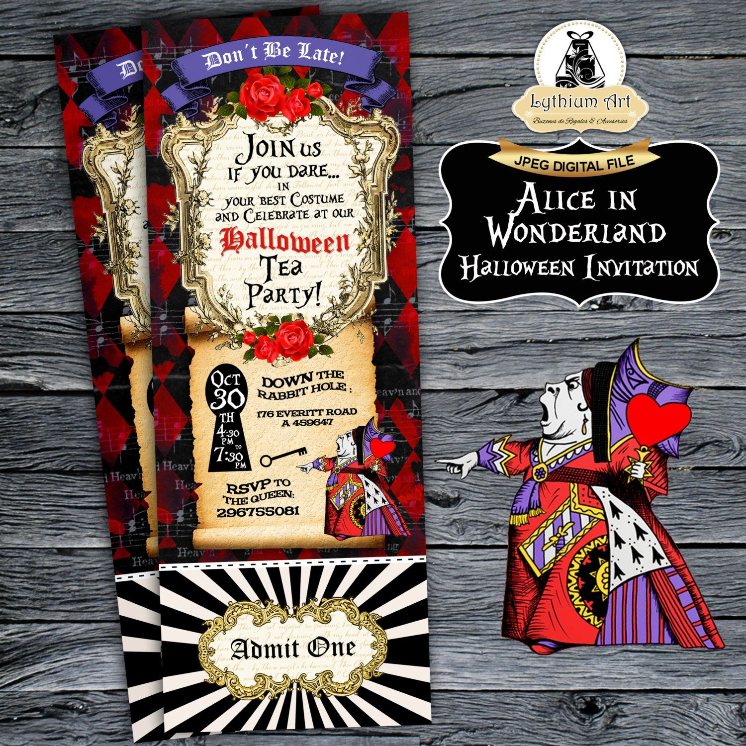 Alice In Wonderland Ticket Invitation Halloween Ticket  LilliaS