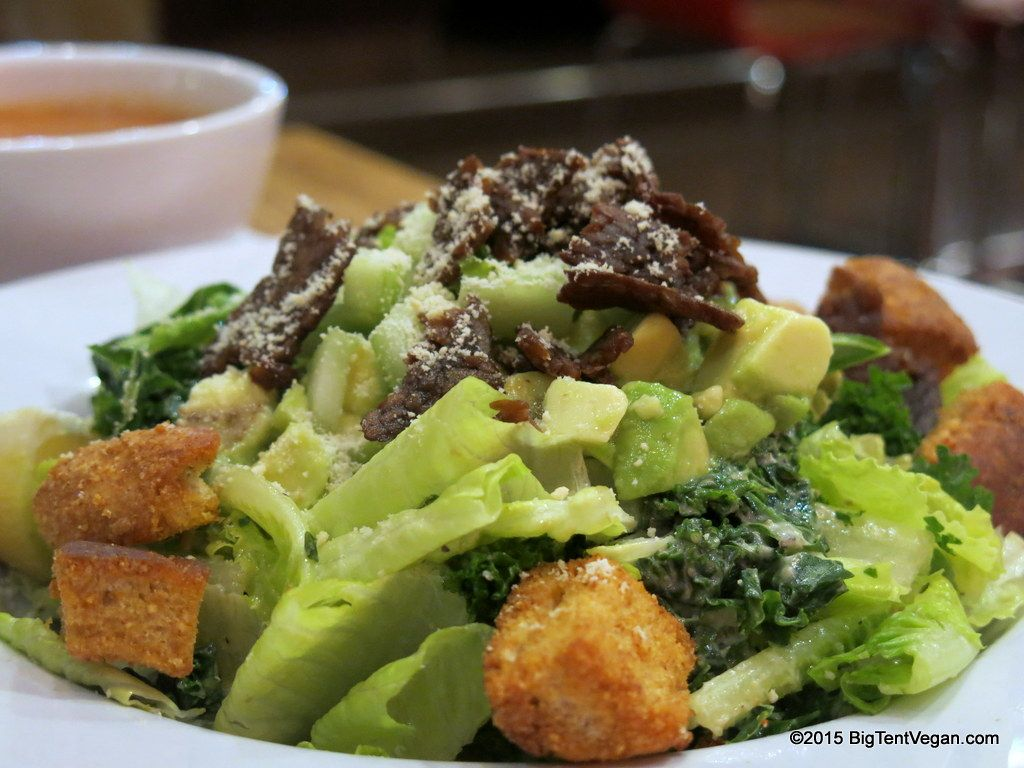 Savory Kale Caesar Salad With Tempeh Bacon Veggie Grill Irvine Ca