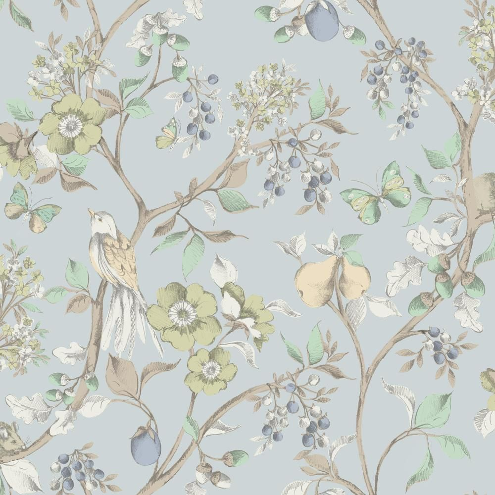 New holden d cor damsen floral pattern bird countryside for Blaue tapete