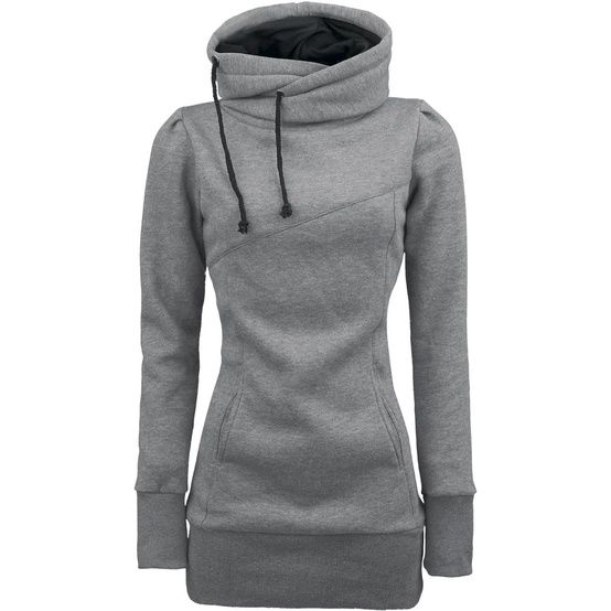 The ultimate hoodie:long length, long sleeves, and covers the neck! -