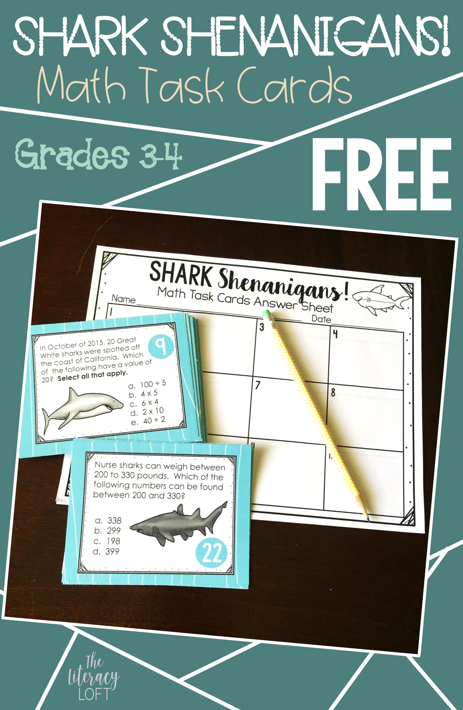 Shark Week Fun! Shark-Themed Math Task Cards // Who doesn\'t love ...