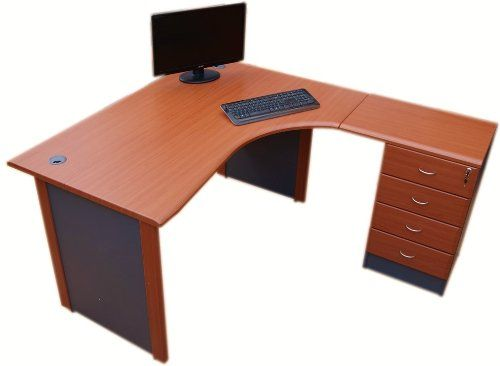 1.4 m Office Corner desk Right hand with 4 drawer pedestal - FREE DELIVERY TO ENGLAND & WALES (Cherry / dark grey)