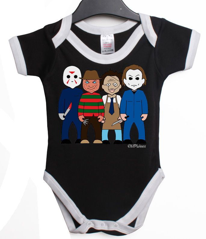 819517254 VIPWees SLASHERS HORROR COMEDY BABY GROW VEST RETRO CLOTHES MOVIE ...