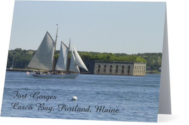 Fort Gorges with Sailboat in Casco Bay Note Card, New England, Portland, Maine…