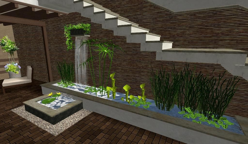 Luxury patio garden design water feature 1024 595 for Casas minimalistas con jardin