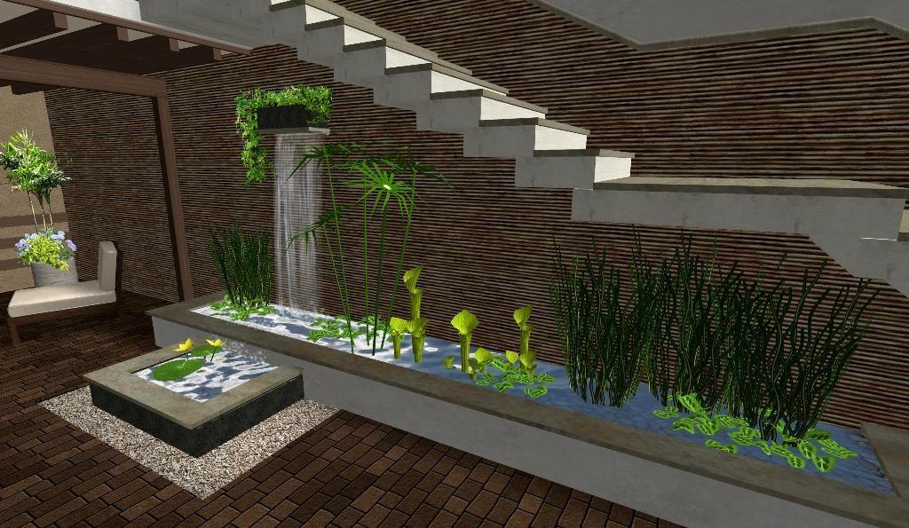 Modelo de patio con jard n acuatico estanque fuente de for Fuentes para jardin pequeno