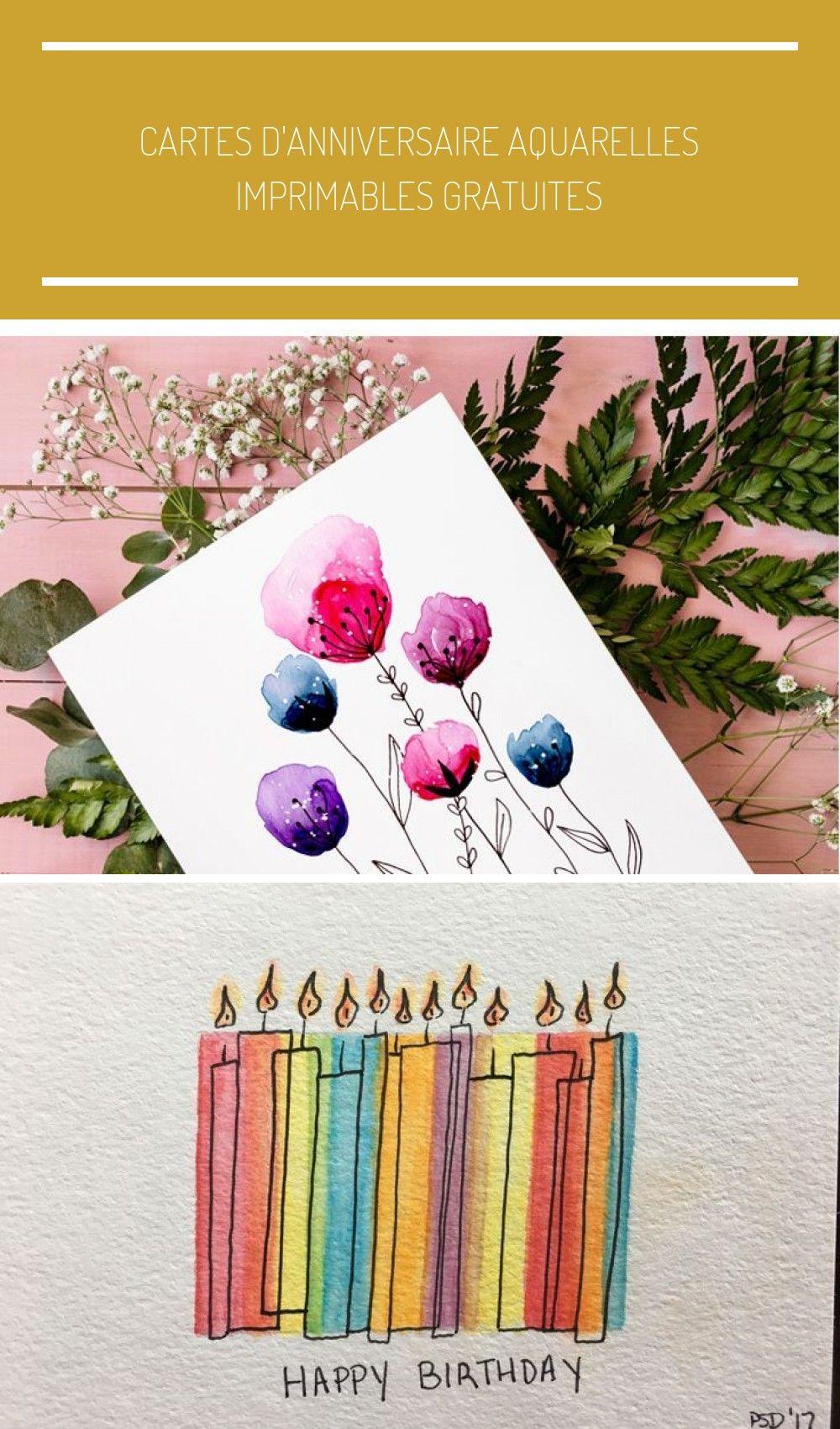 Cartes D Anniversaire Aquarelles Imprimables Gratuites Birthday