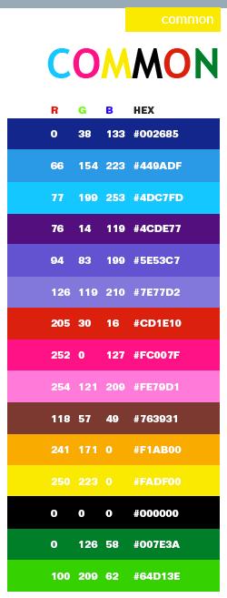 Common web colors color palette pinterest pantone for Common color schemes