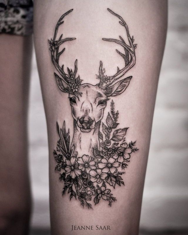 Pin By Stephanie Cortez On Tattoo Ideas Thigh Tattoo Stag Tattoo Tattoos