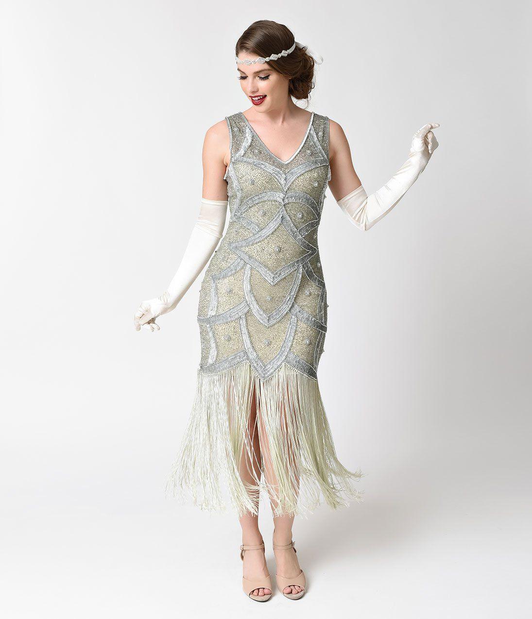 317d769328182 1920s Flapper Costume   How to Guide Unique Vintage Silver Seafoam Beaded  Mesh Isadora Fringe Flapper Dress  139.00 AT vintagedancer.com
