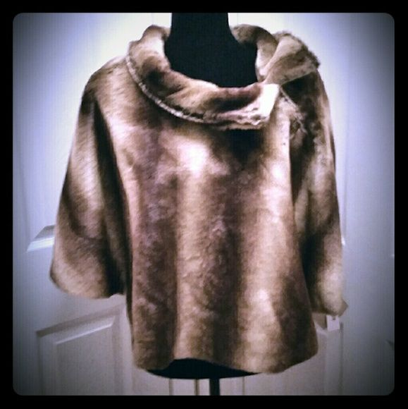 Faux Fur Caplet - New American Bagley Mischka brand new with tags caplet for dress or casual. Collar can be worn up or unbuttoned & turned down; beautiful brass metal buttons with crystal-like golden color embellishments on each. Great designer & Great price. NWT American Bagley Mischka  Jackets & Coats Capes