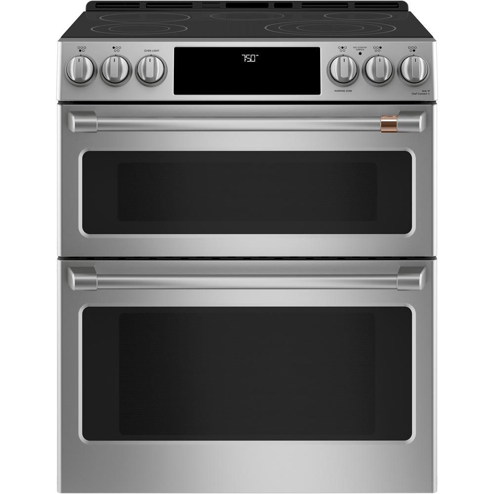 Cafe 30 In 6 7 Cu Ft Smart Slide In Double Oven Electric Range With Convection In Stainless Steel Ces750p2ms1 In 2020 Double Oven Range Gas Double Oven Double Oven Electric Range