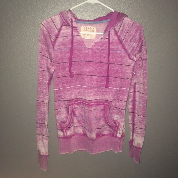 Purple faded billabong sweatshirt Faded purple striped billabong sweatshirt. Worn only a few times. Great condition! very soft and relaxed fit! Billabong Jackets & Coats