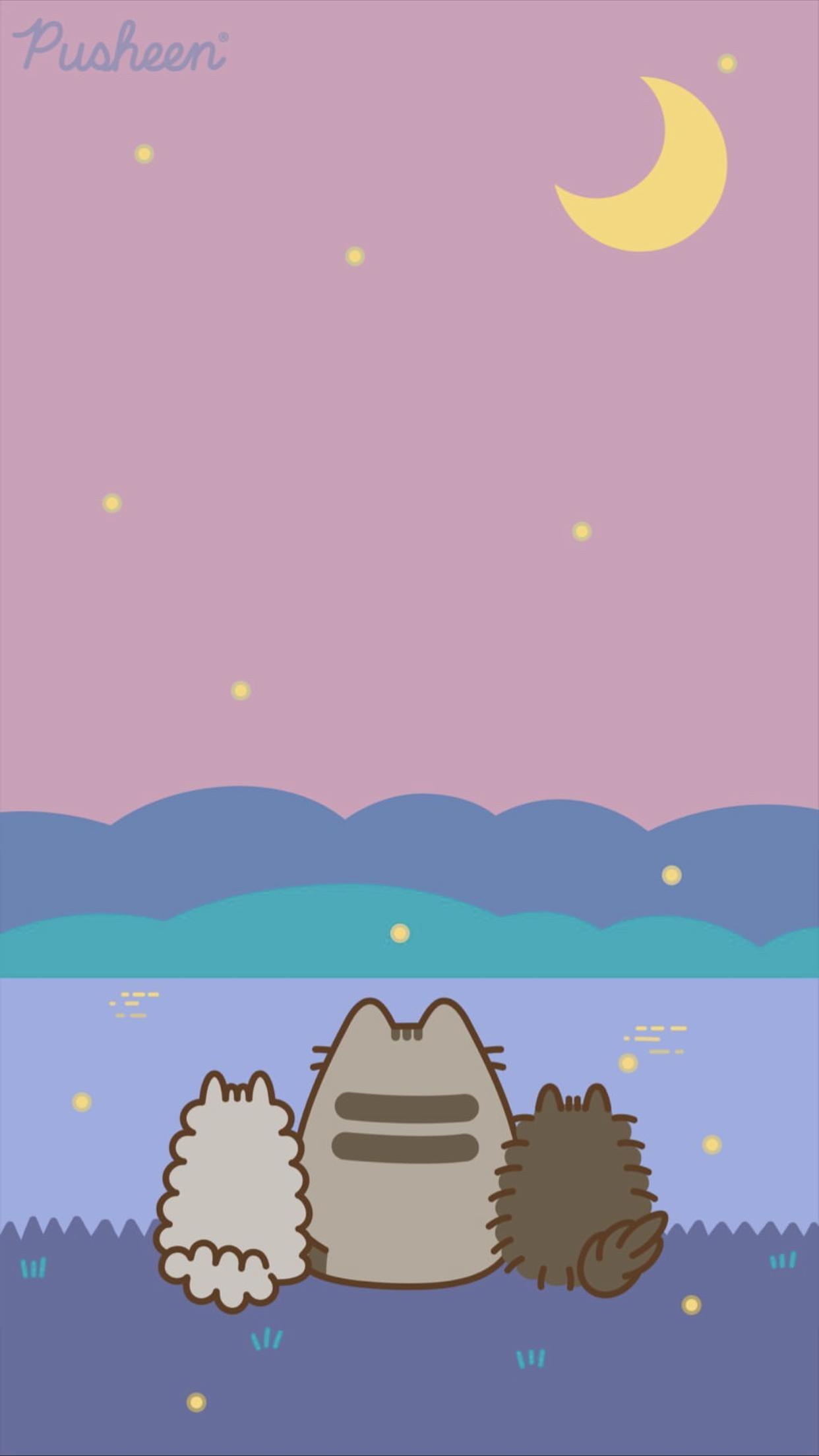 Pusheen cat iphone wallpaper summer nights moon camping