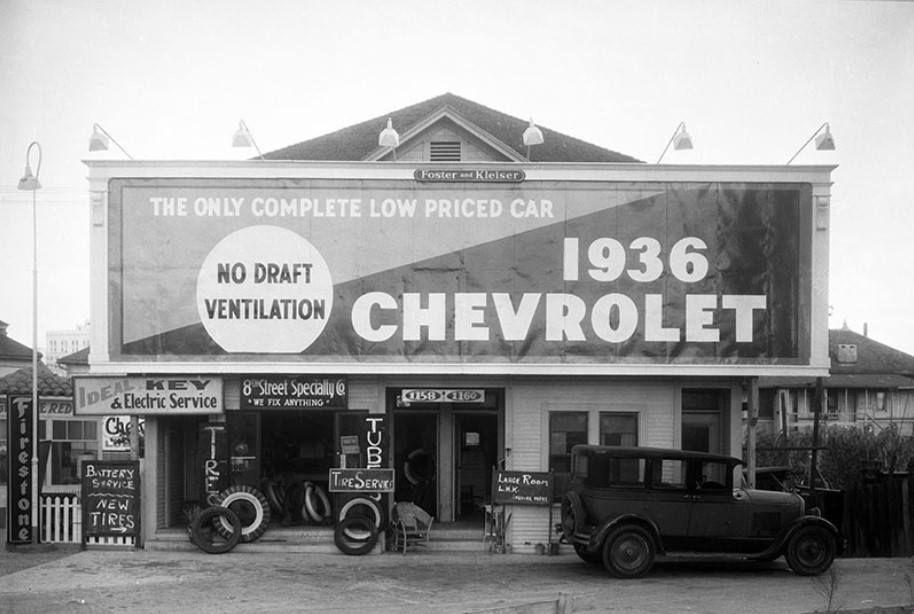 1935 Garage and Billboard, Eighth Street, Los Angeles