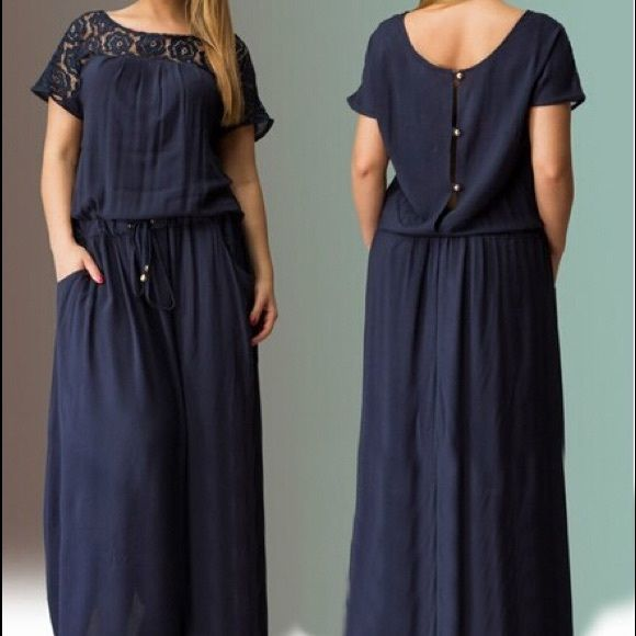 TODAYONLYBlue lace dress with button back detail Brand new. Navy blue long dress with button up details. Size 1X/2X. Bundle to get even bigger savings! Offers welcome. ❌No trades. Boutique Dresses Maxi