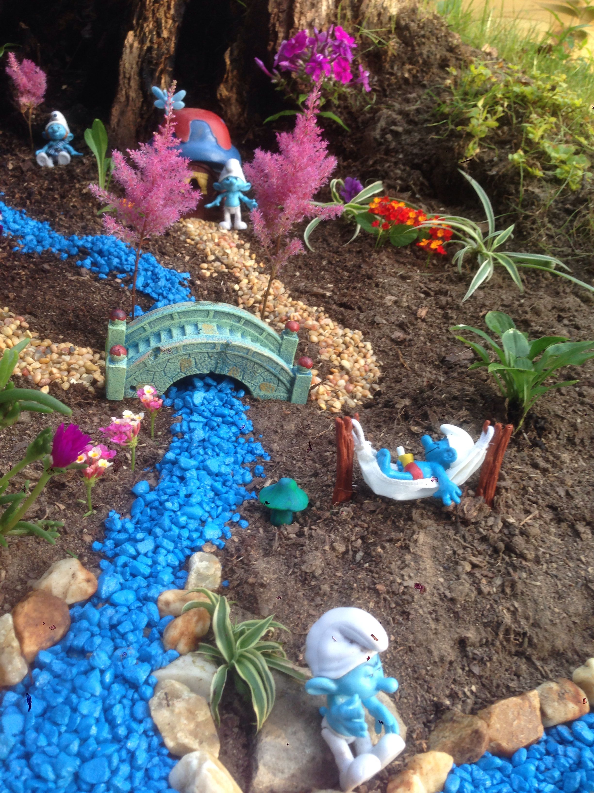 "Gnome In Garden: Smurf ""fairy"" Garden"