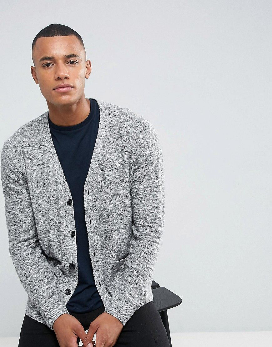 Abercrombie & Fitch Knit Cardigan Icon Logo in Gray - Gray