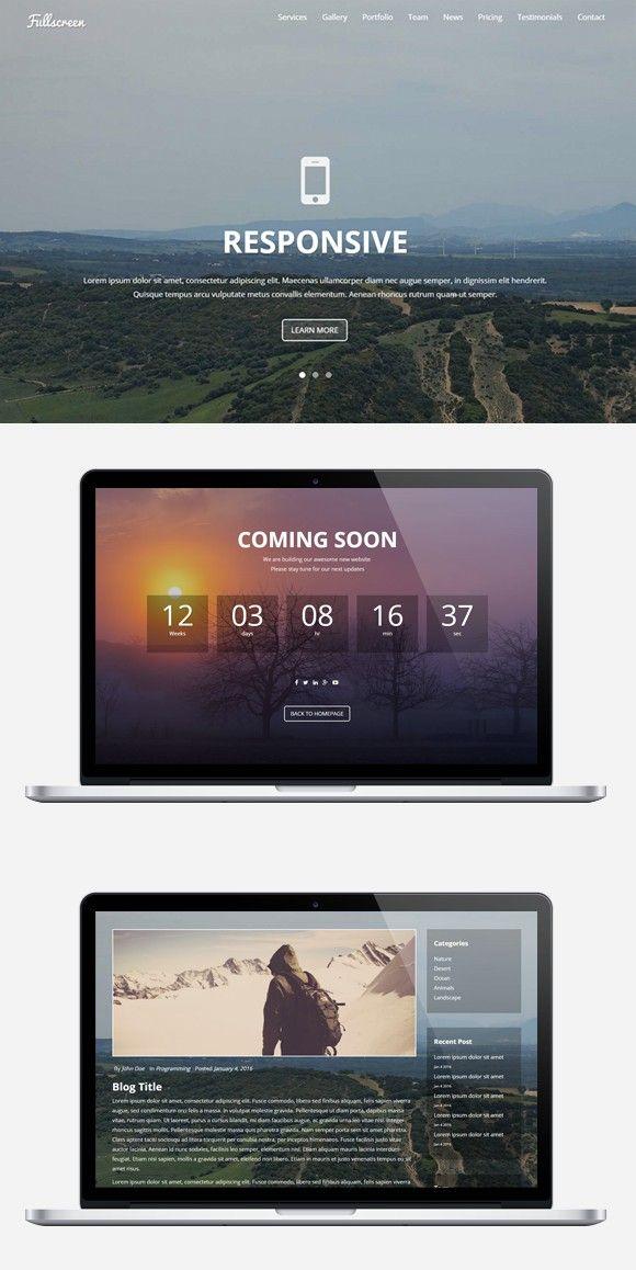 Fullscreen Single Landing Page Bootstrap Templates 10 00
