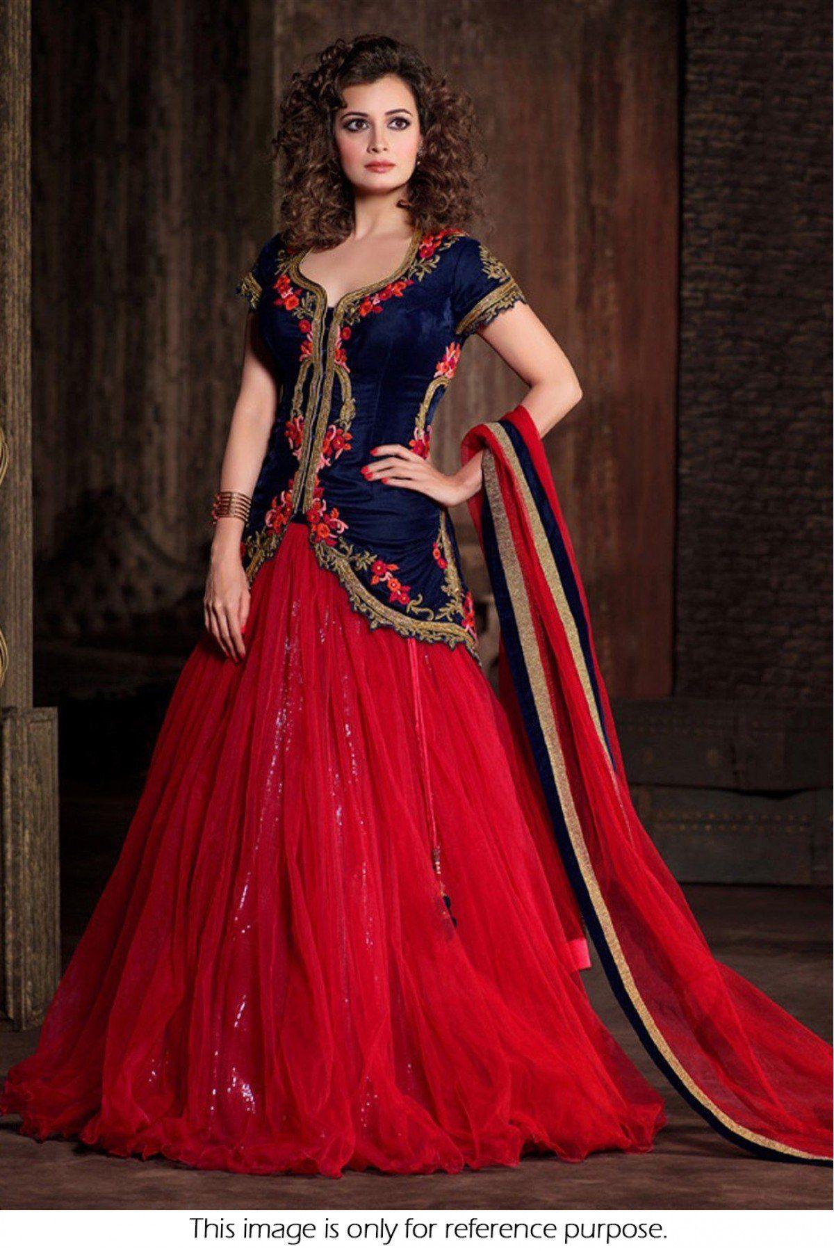 Buy dia mirza velvet party wear lehenga choli in red colour for