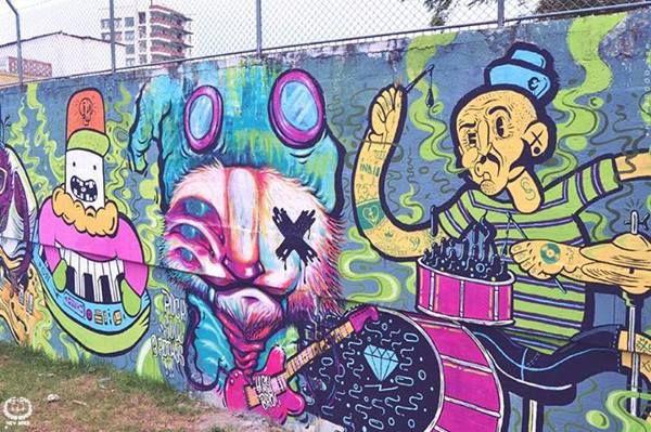 Pintada en compañia de Guacala Colectivo Visual, El Chato, Hey Bro y Matacho Descorp. Tercer asalto visual de la Banda. Fotografías por Guacala y Hey Bro.