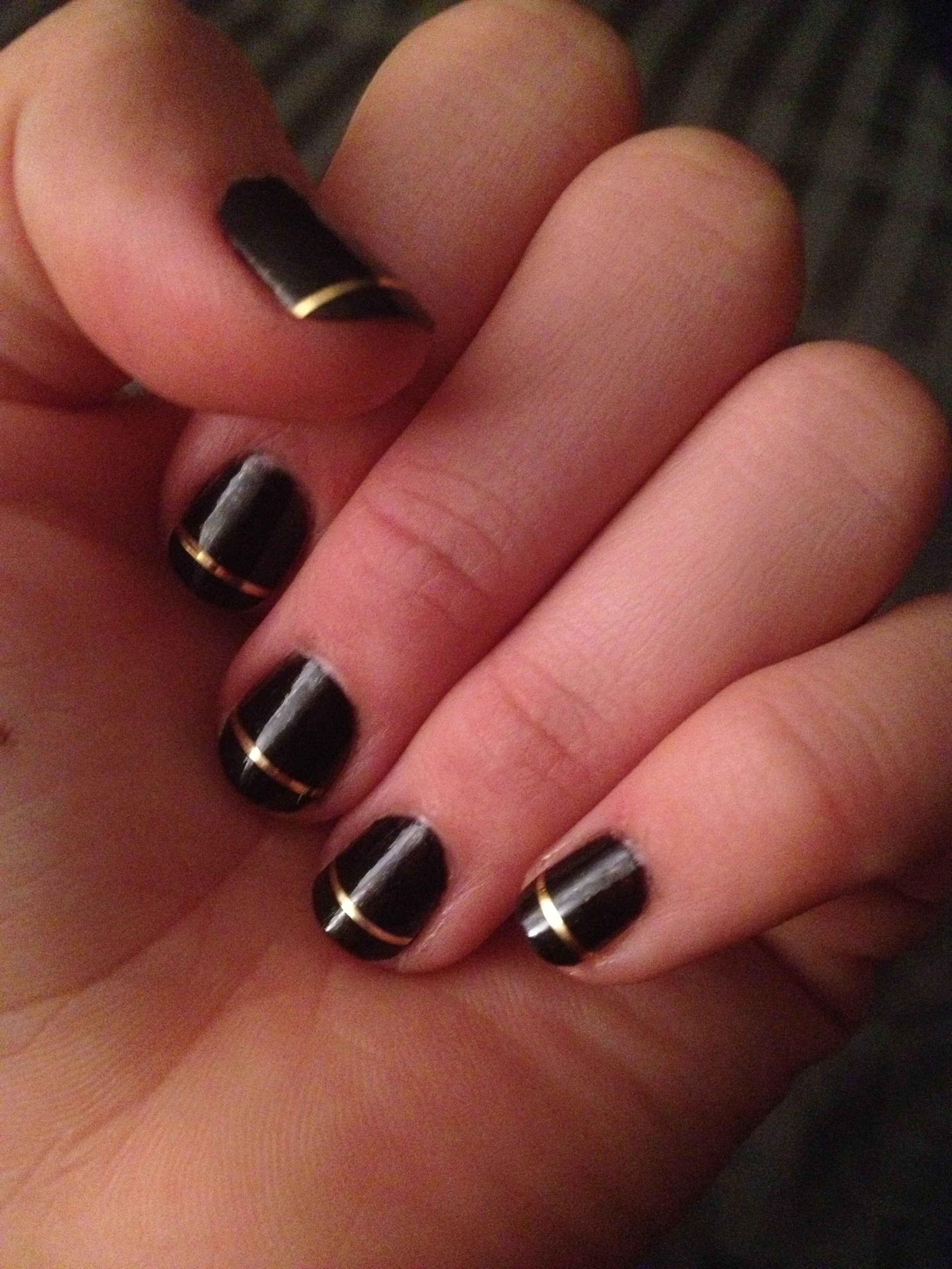 Nails: Black nails with thin gold stripe | things I\'ve actually done ...