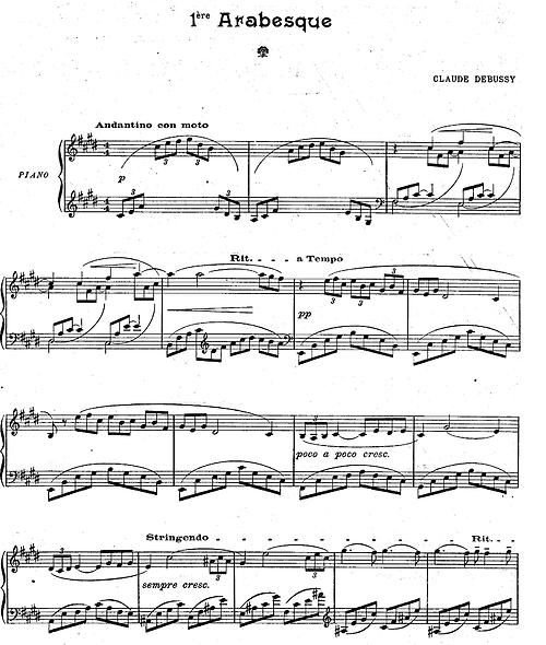 Christmas Canon Lyrics Sheet Music: The First Page Of Arabesque No. 1 By Claude Debussy