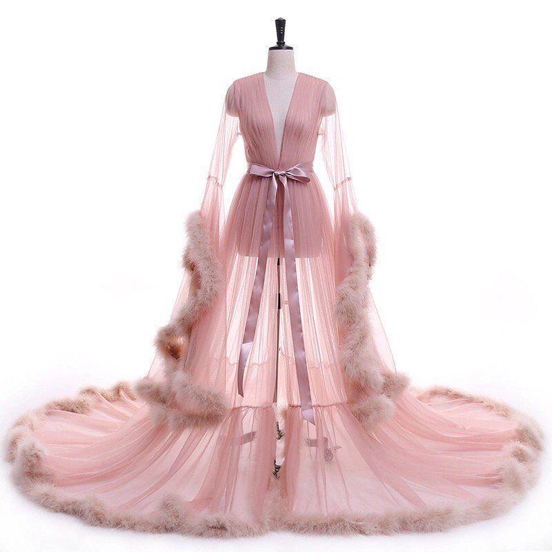 Royal Custom Made Fur Robe Formal dresses prom, Bridal