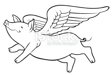 Vector Line Art Of A Cartoon Flying Pig With Wings Vector Art