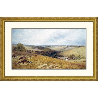 "Global Gallery 'A Hot Day In The Harvest Field' by William W. Gosling Framed Painting Print Size: 29.41"" H x 46"" W x 1.5"" D"