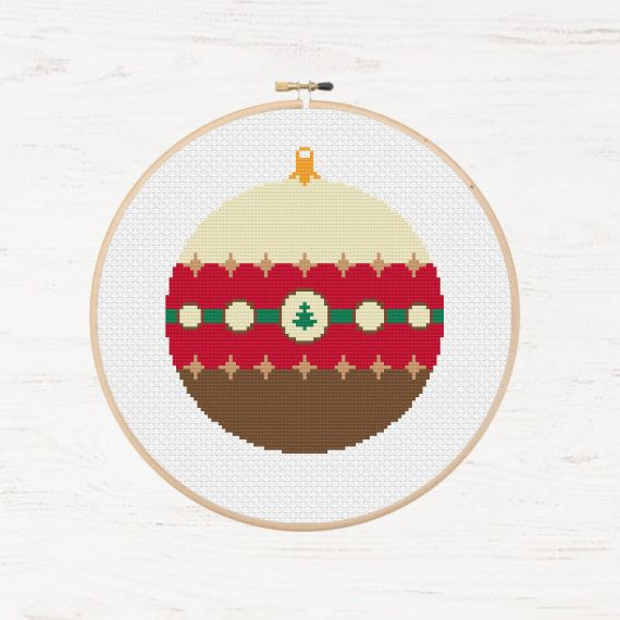 Cross Stitch Pattern Christmas Ornament Modern Cross Stitch Chart Instant Download PDF Decoration DIY Bauble Gift Xmas Cross Stitch Holiday  - pinned by pin4etsy.com