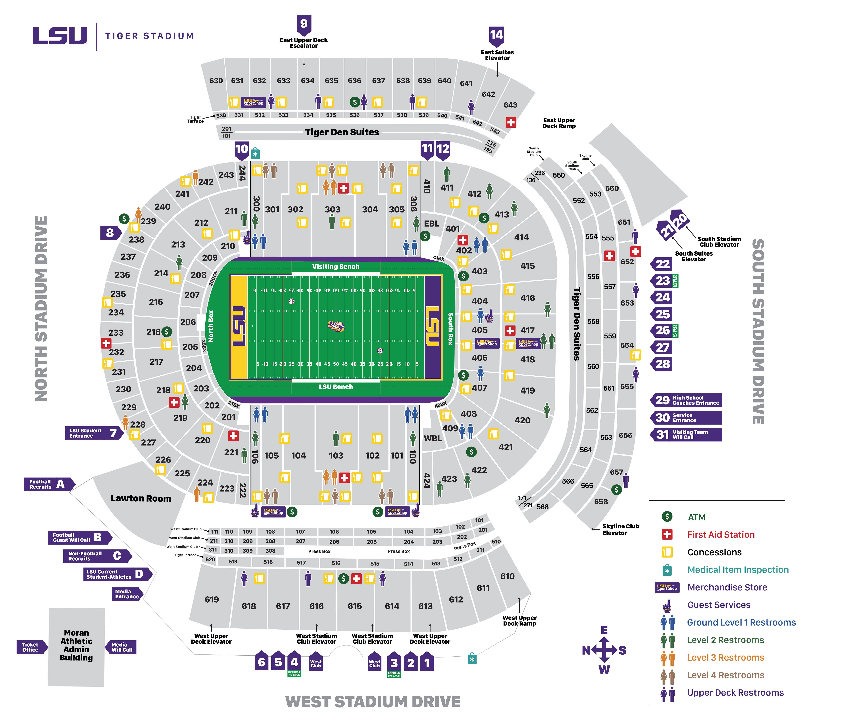 Lsu Tiger Stadium Seating Chart Seat Numbers In 2020 Lsu Tiger Stadium Lsu Football Tickets Lsu Football