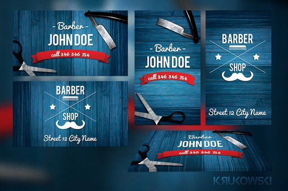 Check Out Barber Business Card Template By Krukowski On Creative - Barber shop business card templates
