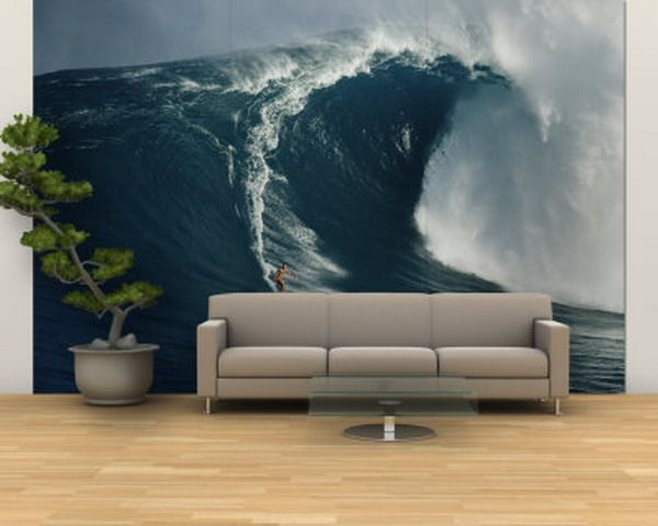 Modern Living Room Wall Surfing Murals Home Interior Decorating Ideas