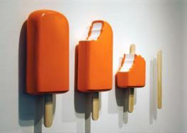 orange ice pop sculpture